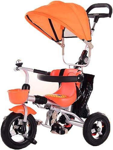 Faltbares Baby-Dreirad, Kinderfahrrad mit SonnenGrünck für Kinder, Rückenspeicher und Abnehmbarer Griff für Eltern, Sicherheitsvorrichtung (Farbe   Orange)