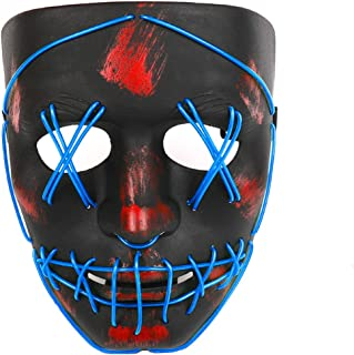 Halloween Purge LED Mask - Cool Cosplay Scary Masks EL Wire Light up for Festival Party Women Men