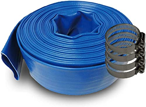 2021 Schraiberpump discount 1-Inch by 200-Feet- General Purpose 2021 Reinforced PVC Lay-Flat Discharge and Backwash Hose - Heavy Duty (4 Bar) 4 CLAMPS INCLUDED online