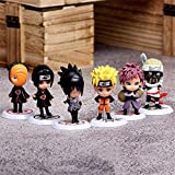 HZLQ 6 unids / Set Naruto: Naruto Uzumaki Figura de acción D animación Modelo de Personaje Estatua decoración 7-8 cm Familiares A-UN