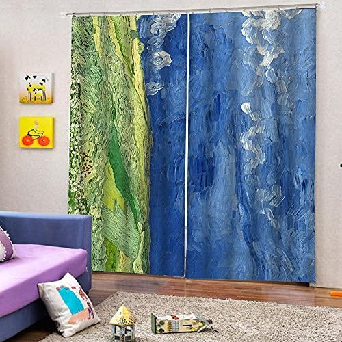 BUFUXINGMA Cortinas Opacas,3D Hierba Y Cielo Azul Cortinas Opacas 2 Piezas Poliéster Cortinas Opacas Termicas Aislantes,para Habitación Infantil Salón Habitación 340(W) X255(H) Cm