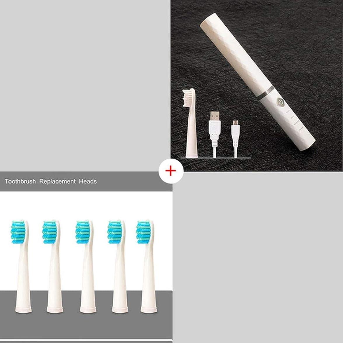 機構要塞加入BeTyd の電動歯ブラシきれいな白くなる歯携帯用電動歯ブラシファッションデザインスマートチップ充電式 (Color : White5Heads)
