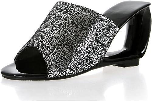 GAOLIXIA Femmes en Cuir Open Toe Sandales Pompes Mode Talons Hauts Nouveauté Talon HolFaible Slippers Grande Taille 34-43