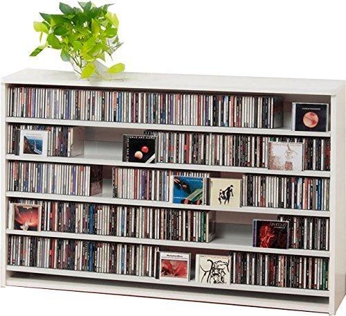 695枚収納 CD屋さんのCD/DVDラック 幅139.2cm インデックスプレート20枚付き(ホワイト W)