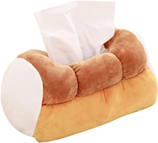 Levenkeness Plush Soft Tissue Case Box Holder - Funny Cute Tissue Box Holder Yellow Simulation Toast Bread Plush Tissue Box for Car,Home,Office