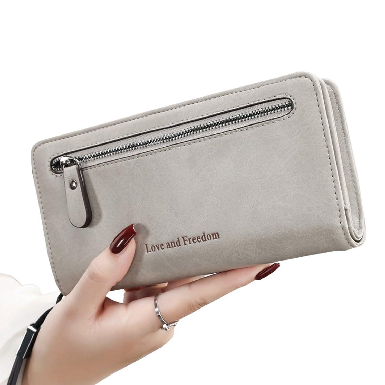 長財布 レディース 大容量 多機能 二つ折り 人気 おしゃれ 大きく開く カード収納 小銭入れ 写真入れ 軽量 プレゼント ウォレット ストラップ付き 20 * 10.2 * 3.2cm 全5色