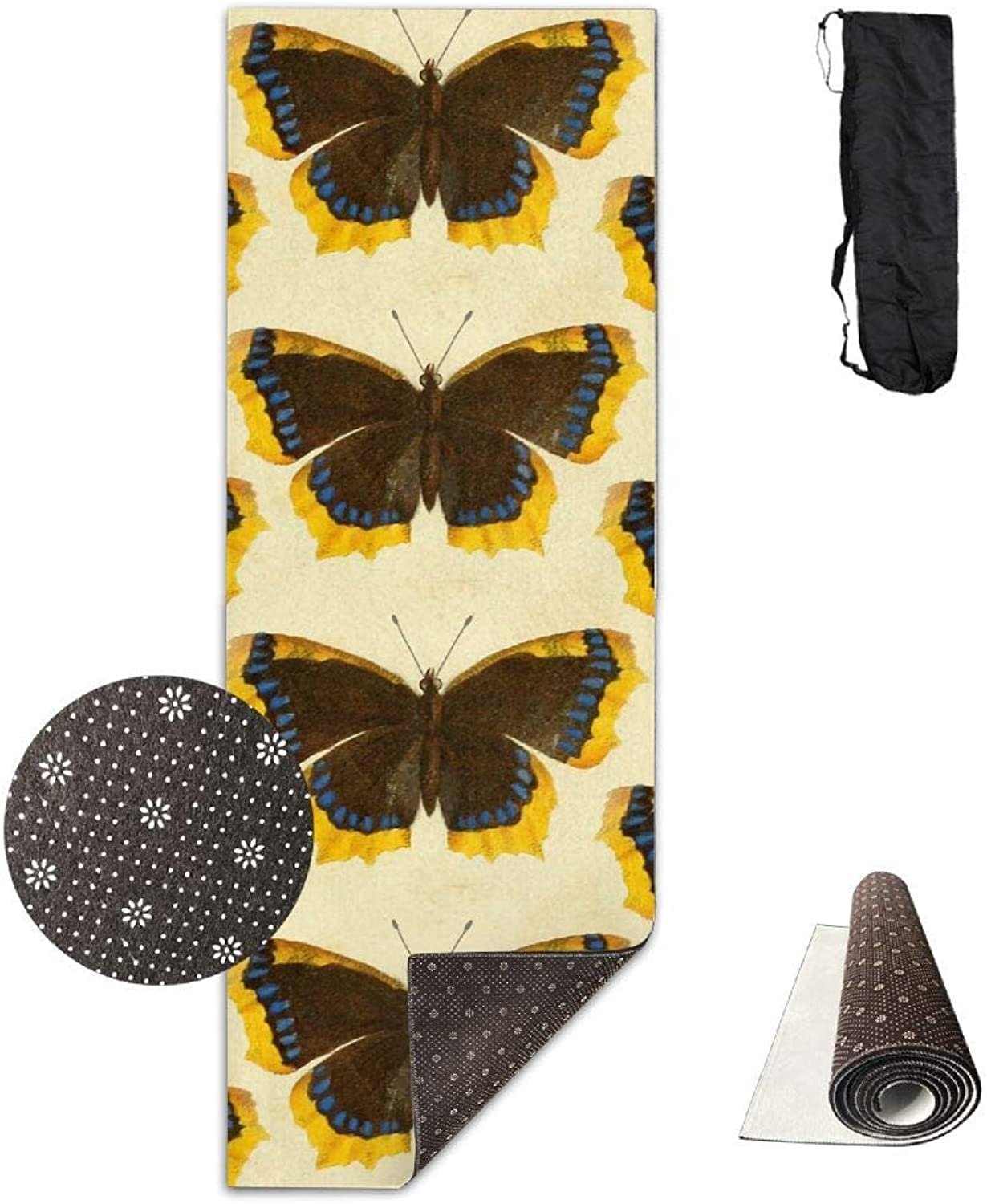 70Inch Long 28Inch Wide Comfort Velvet Yoga Mat, Butterfly Wing Collage Mat Carrying Strap & Bag