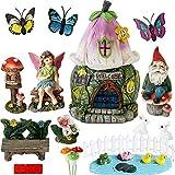 Garden Fairy Garden Decor Accessories - Miniature Flower Gnome Garden Kit Gnome Figurines Statue Set Indoor Outdoor Garden Decoration Gardening Gifts for Girl Boy Mother Girlfriend Birthday