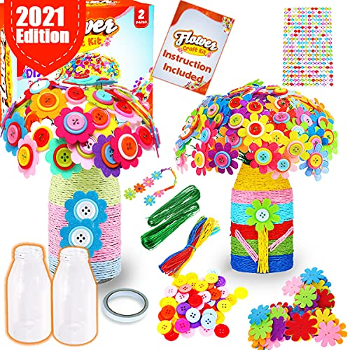 Goody King Flower Craft Kit for Kids - Valentine Gifts Make Your Own Button Felt Flowers Vase Project for Boys and Girls - Fun DIY Activity for Children Ages 4 5 6 7 8 9 10 Years Old