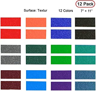 """XLNT Vein Texture ABS Double Color Engraving Sheet (7"""" x 11"""" x .060"""", 12 Pieces & 12 Colors, 2-ply) for Interior Signs, Badges."""