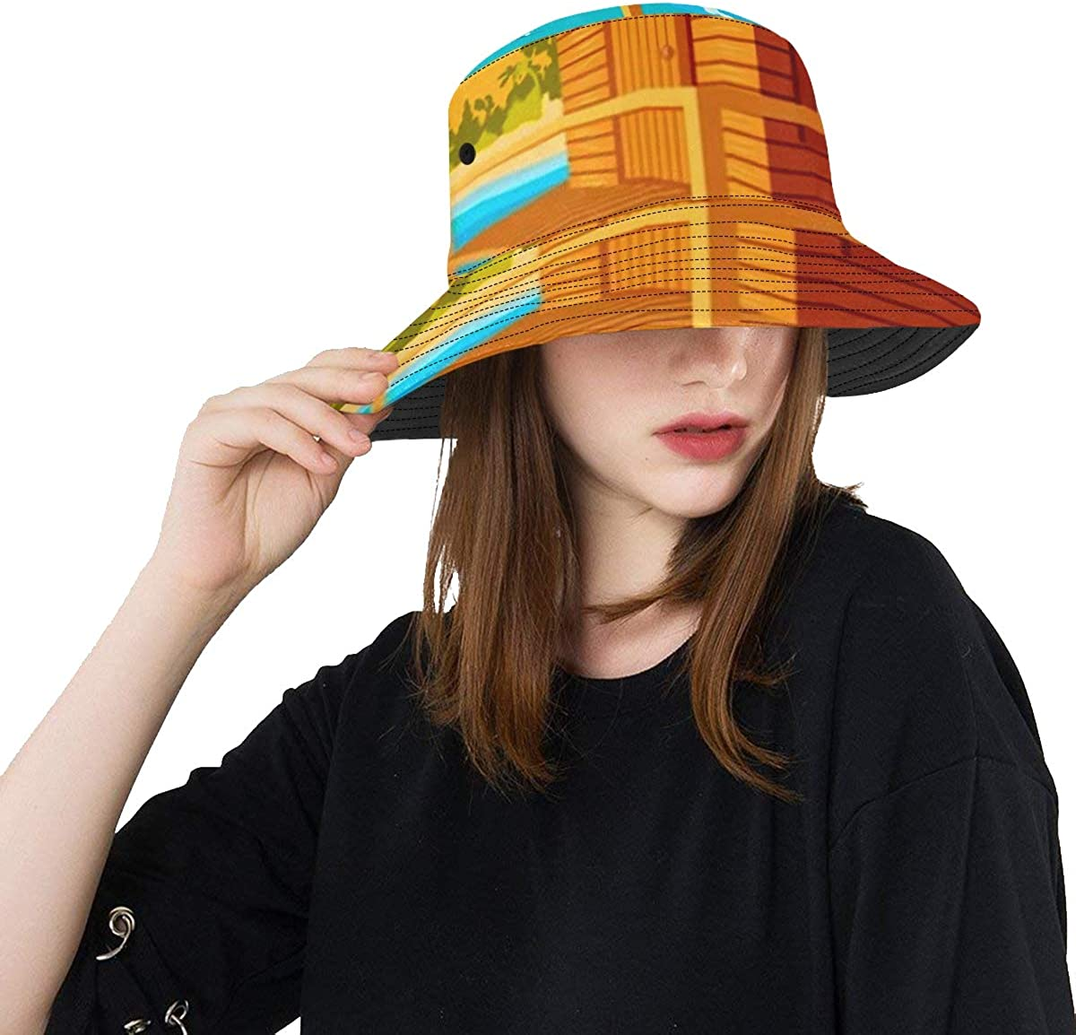 Unique Bucket Hat At the price Beach House Tropi Landscape Seaboard outlet Beautiful
