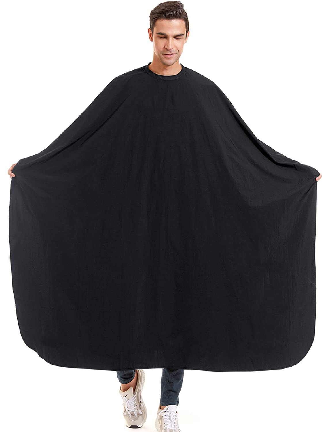 """izzycka Nylon Barber Cape 64""""x56"""" Waterproof Salon Large Hair Cutting Cape Haircut Cape for men With Adjustable Snap Closure Color Capes Professional Stylist Hairdresser apron adults Unisex Black : Beauty & Personal Care"""