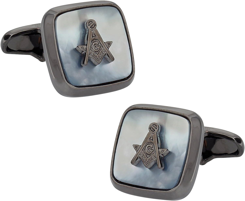 Cuff-Daddy Gunmetal Mother of Pearl Masonic Freemason Cufflinks with Presentation Box