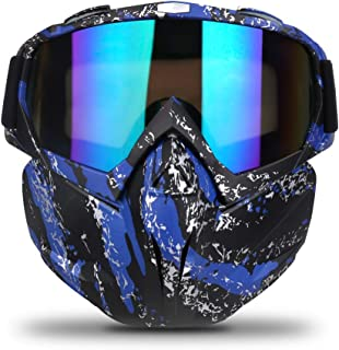 Freehawk Motorcycle Goggle Mask - Motorcycle Glasses with Detachable Mask for CS/Desert Offroad Riding/Skiing/Snowmobile/Cycling/Halloween/Costume Ball