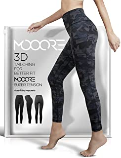 MOOORE Yoga Pants for Women | High Waisted Compression Leggings with Pockets Tummy Control Workout Sports Running 4 Way Stretch Non See-Through Pants