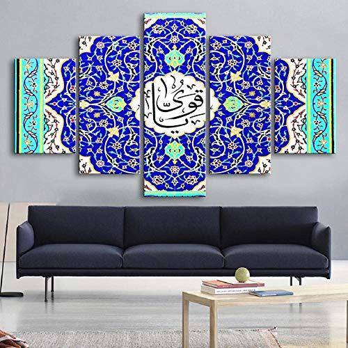 XIAYUU Azulejos y mosaicos islámicos Cuadros En Lienzo Decoracion De Pared 5 Piezas HD Modernos Mural Fotos Arte Pintura Marco para,Salon,Dormitorio,Decoración del Hogar(150 CM x 80 CM)