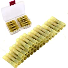 CESFONJER 30 stuks 12-10 AWG waterdichte kabelverbinders, geel, kabelverbinders, krimpverbinders, kabelschoenen, knelverbi...