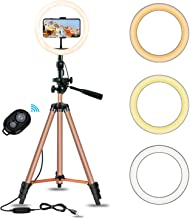 10.2inch Selfie Ring Light with 50in Tripod, Eocean Tripod for YouTube Stream/Makeup, Mini Led Camera Ringlight for Vlog/Video/Photography Compatible with iPhone Xs/Max/XR 8/7 Plus/X/Android (Brown)