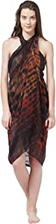 SOURBH Women's Faux Georgette Beach Wear Wrap Sarong Shibori Printed Pareo Swimsuit Cover Up (S372_Brown)