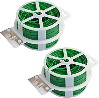 Poualss Garden Plant Twist Ties Cutter 2 Pack 328 Feet (100m) Green Cable Tie Coated Wire Garden, Home Office Use