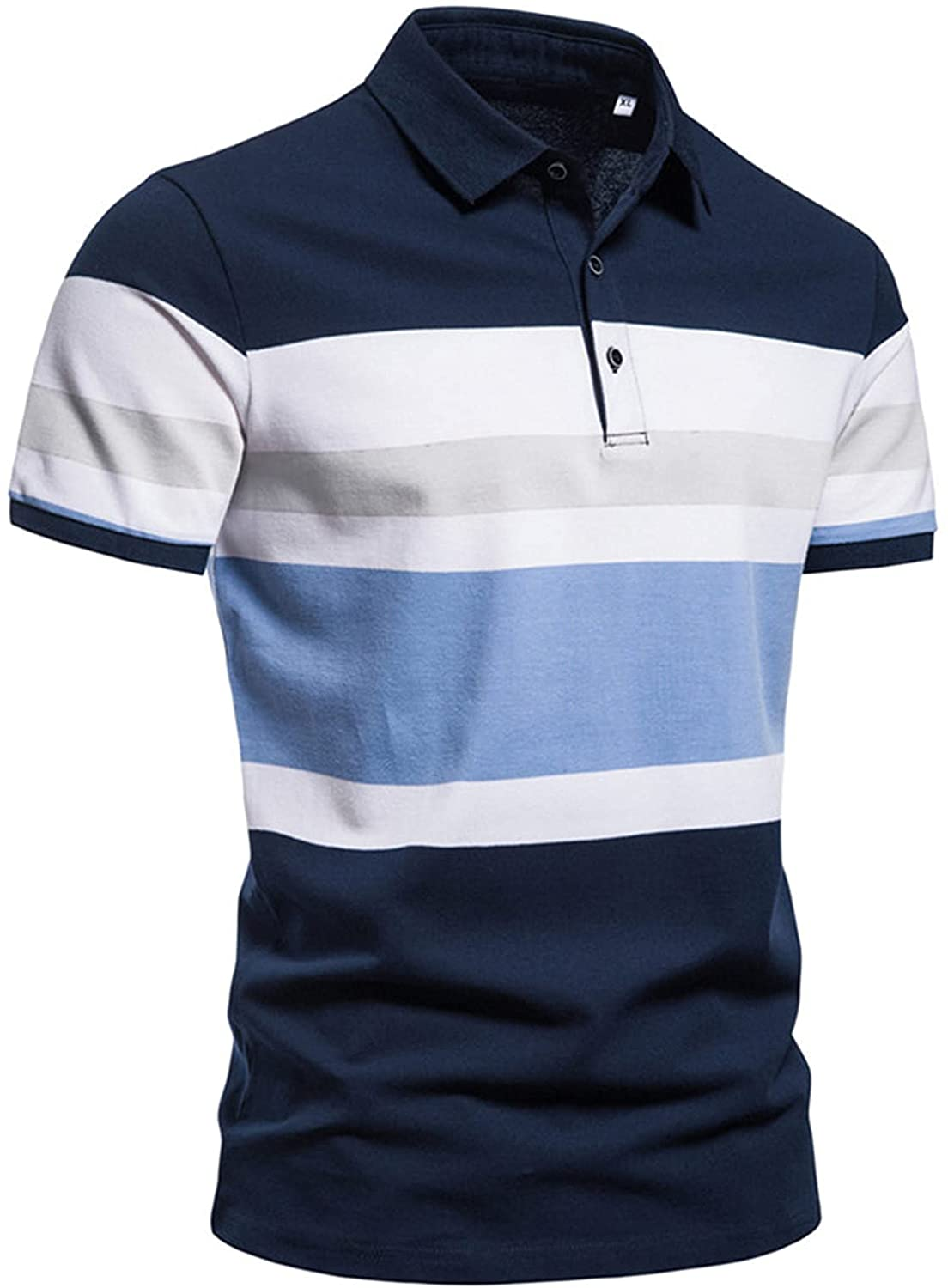 Mens Fashion Stripe Patchwork Color Polo Shirt Regular-Fit with Pockets,Hunk X-Temp Performance Polo Tops