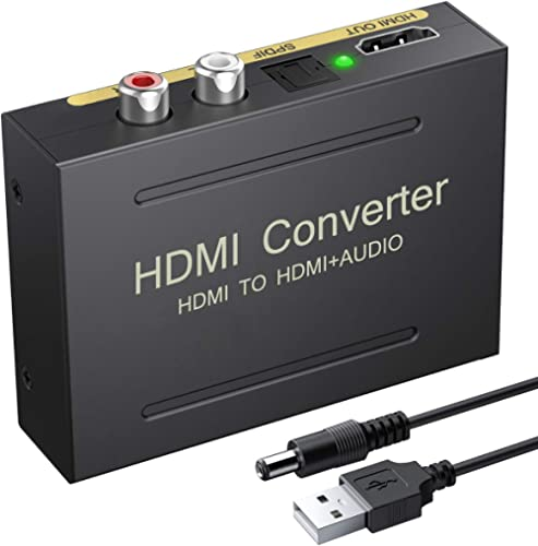 eSynic 4K HDMI Audio Extractor HDMI to HDMI + Optical TOSLINK SPDIF + Analog RCA L/R Stereo Audio Video Spiltter Adap...