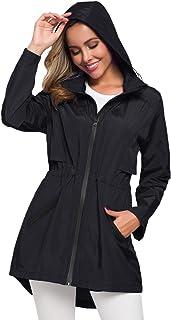 Women's Long Raincoat with Hood Outdoor Lightweight Windbreaker Rain Jacket Waterproof