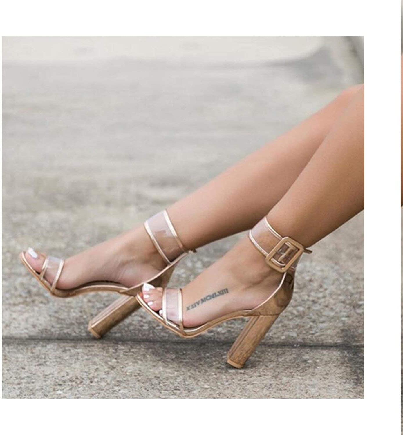HANBINGPO 2019 Summer Plus Size Hot Style in Europe and The Ultra-high Hollow Out Thick with Sandal Strap Roman Women shoes Woman,Nude,4