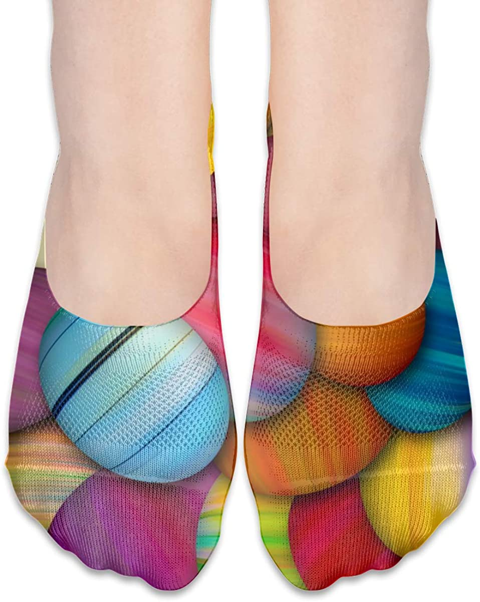 No Show Socks Women Men For Colorful Easter Eggs Holiday Flats Cotton Ultra Low Cut Liner Socks Non Slip