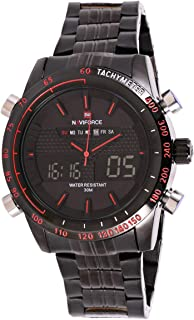 Naviforce Men's Black Dial Stainless Steel Band Watch - NF9024