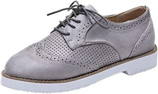 〓COOlCCI〓Womens Lace Up Loafers Perforated Oxfords Shoes Casual Platform Wingtip Brogue Sneakers Loafers & Slip-Ons