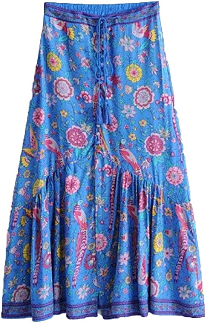 Women Rayon Cotton Tassel Bohemian Skirt Blue Floral Printed Maxi Skirts