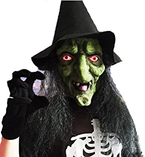 Mltao Old Witch Mask with Hair and Hat Latex Halloween Mask Old Witch Dress up