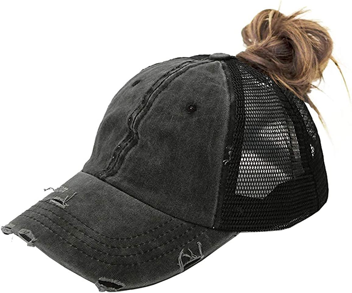 Women Distressed-Ponytail Baseball-Sun-Hat 2021 spring and summer new P Messy-High-Bun Nashville-Davidson Mall with