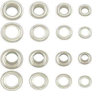 GETMORE Parts Ösen mit Gegenscheiben, Messing-Ösen, Metallöse, Rundöse mit Scheibe, Messing, rostfrei - 50 Stück 12 mm, Silber
