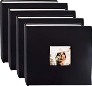 Golden State Art , Black Synthetic Leather Photo Album, Holds 200 4x6 Photos, 2 per Page,Set of 4