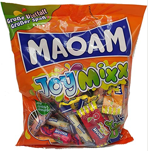 Maoam Kaubonbon JoyMixx 6 Sorten je Tüte 54 Teile, 4er Pack (4 x 400g) Party Mix Großpackung Sour Stripes Cola