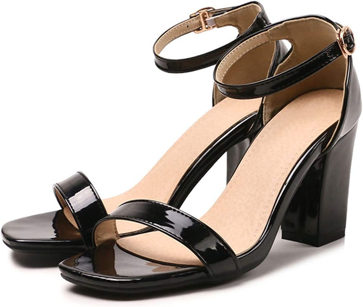 YuJi Sandals Patent Leather Thick Heel Red Bridal shoes Buckle High Heel Ankle Strap Sandals,Black,4