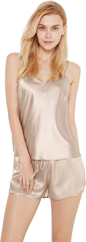 SIORO Womens Satin Pajamas Shorts Silky PJ Set Sleepwear Nightwear,XS~XL