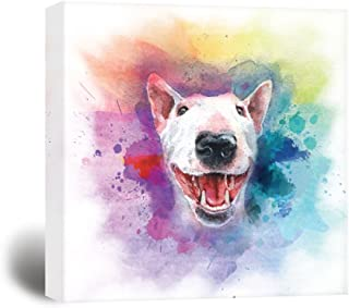wall26 Square Dog Series Canvas Wall Art - A Bull Terrier Painting with Color Splash Background - Giclee Print Gallery Wrap Modern Home Decor Ready to Hang - 16x16 inches
