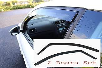 AC WOW 2x Wind Deflectors Compatible with FORD KA Dark Smoke Tinted Acrylic Glass Door Side Windows In-Channel Visors Rain Snow Sun Guards