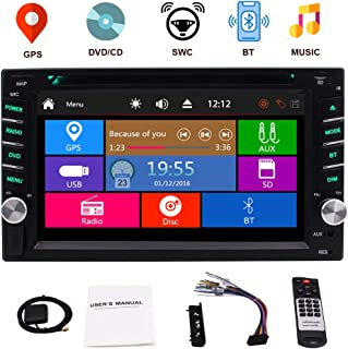 Double Din Car Stereo GPS Navigation for Car 6.2 Inch Touch Screen Car DVD Player with Bluetooth in Dash Head Unit Car Radio Receiver Support Steering Wheel Control&Rear View Camera&Mirror Link