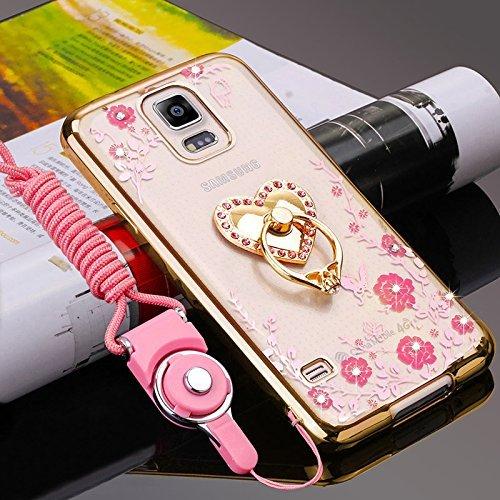 Herbests Coque Galaxy Note 4,Coque Galaxy Note 4 Transparent Liquid Crystal Ultra Fine Premium Souple TPU Silicone avec 360° Support de Téléphone,Doré