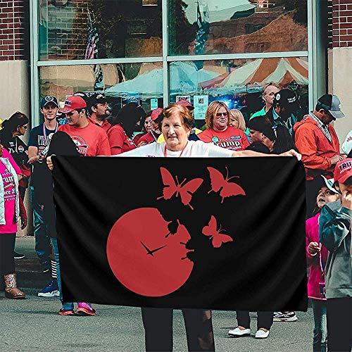 fingww Fahne Rote Uhr Clipart Willkommen Im Freien Yard Banner Yard Flag Lebendige Gartenflagge Dekorative Feiertage 150X90Cm Druck