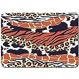 huagu Alfombrilla de baño.Antideslizante,Impresión Mixta de Pieles de Animales Mezcla de Texturas Safari.Pieles de Leopardo.Cebra y Tigre Alfombra de Ducha(75cmx45cm)