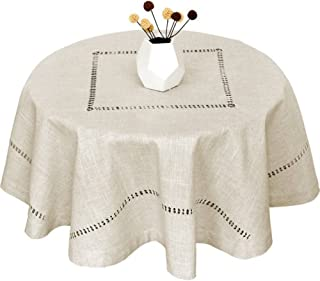 Grelucgo Handmade Double Hemstitch Natural Tablecloth, Round 54 Inch