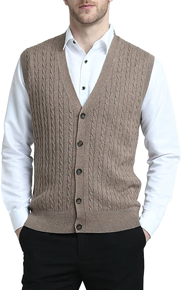 Kallspin Men's Cashmere Wool Blended Vest Sweater Cable Knit Relaxed Fit V Neck Sleeveless Knitted Button Vest Cardigan