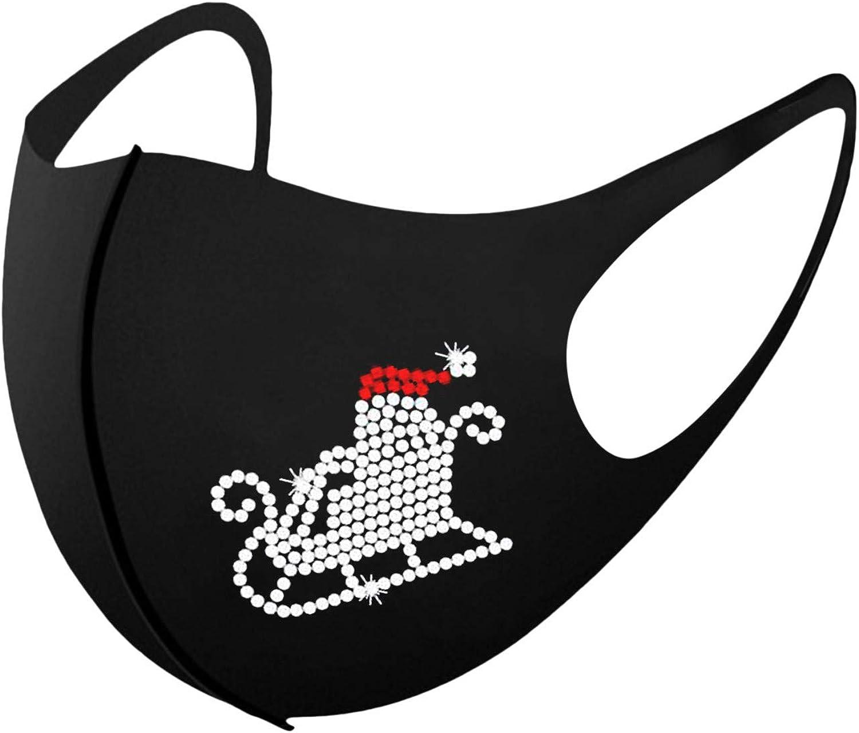 BEUU Cartoon 3D Shape Cloth Face Bandana - Claus Riding Reindeer Sleigh Christmas Washable Cotton Bandanas for Adult