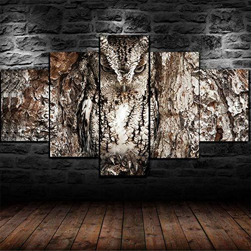Canvas Wall Art,Búho Camuflado National Geographic,Material Tejido Impresión,Impresión En Hd,Imagen Modular,decoración del hogar,5 Piezas 150x80cm,Con Marco