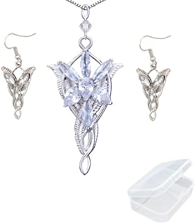 PPX Lord of The Ring Elven Leaf Aragorn Arwen Evenstar Pendant Chain Necklace Princess Chain and Earrings with Transparent Jewelry Box